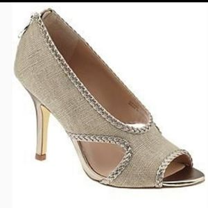 Tahari Loretta metallic heels pep toe braided